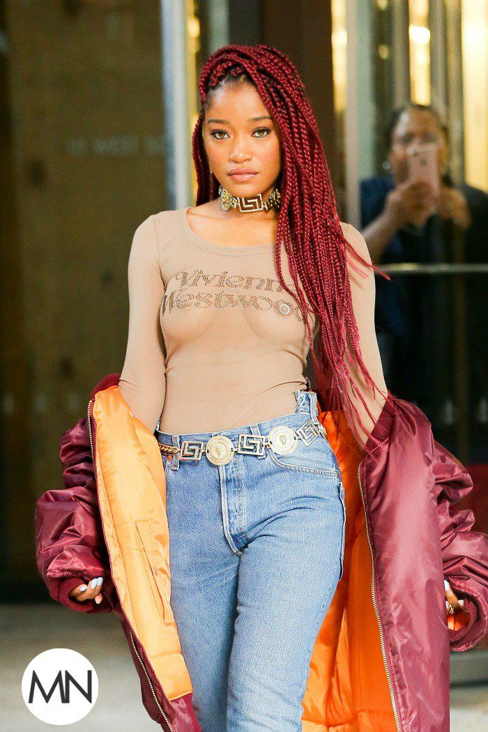Keke Palmer Is Feeling Herself With Her Gorgeous Burgundy Braids [Pics]  Read the article here - http://blackhairinformation.com/hairstyle-gallery/keke-palmer-feeling-gorgeous-burgundy-braids-pics/
