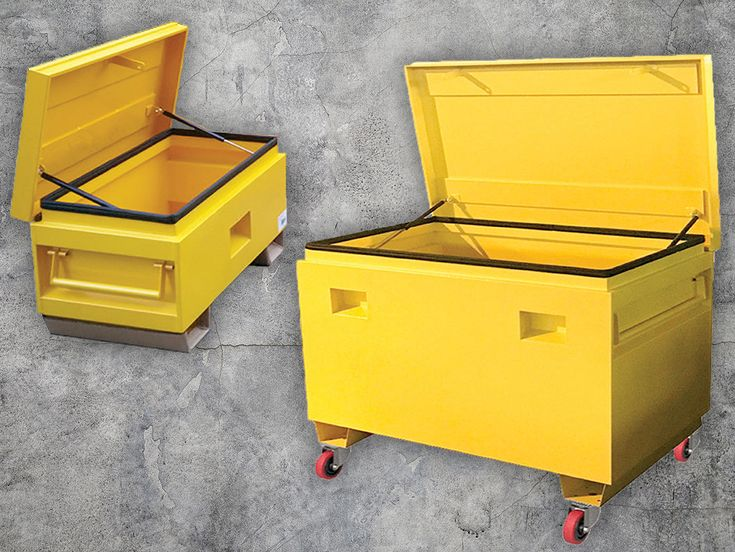 These heavy duty Site Boxes are perfect for on site storage or to put in the back of the work ute! Including forklift skid base plates, UV Resistant yellow powder coated finish and many more features