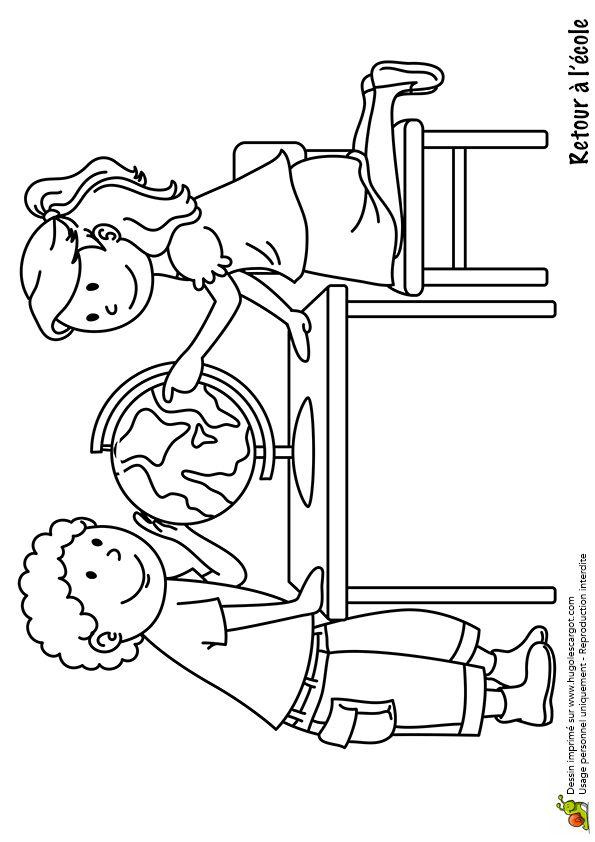 dessin colorier d un gar on et d une petite fille devant une mappemonde back to school. Black Bedroom Furniture Sets. Home Design Ideas