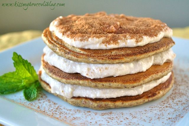 """Tiramisu Protein Pancakes Recipe. Light and fluffy protein pancakes FULL of coffee flavor, layered with a sweet """"cream"""" filling and dusted with just the right amount of cocoa powder."""