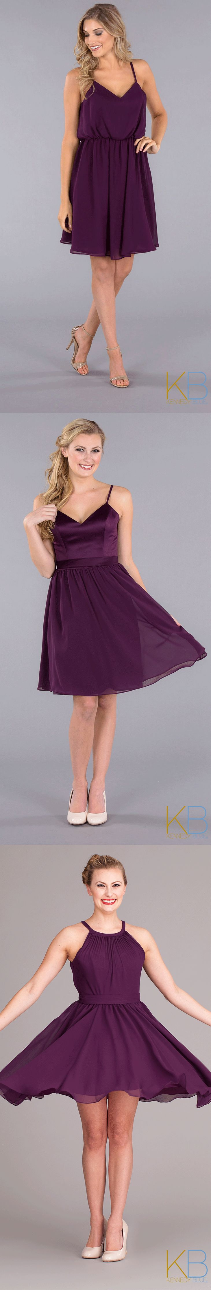 A style for every girl! Mix and match short purple bridesmaid dresses for a fun & unique look!