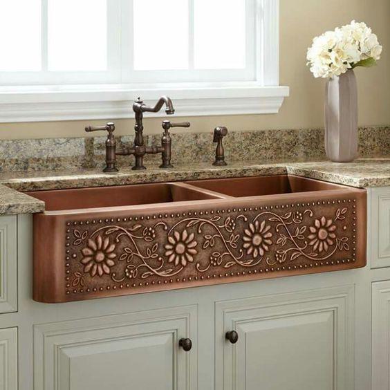 Beautiful Copper Farm-Style Sink........#homedesignideas #homedecorideas #kitchendesignideas #kitchendecorideas #kitchendecor #sinkdesignideas #sinkdesign #sink #interiordesignideas #interiordesign