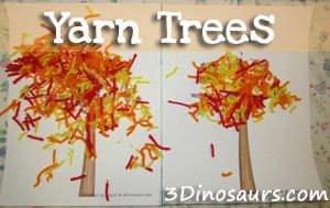 Fall Yarn Trees to go with the book Red Leaf, Yellow Leaf by Lois Ehlert. - 3Dinosaurs.com