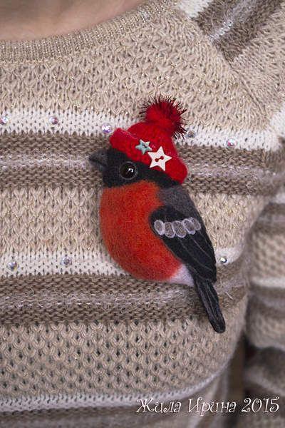 Bullfinch - brooch by By Zhila Irina | Bear Pile