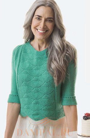 Бирюзовый пуловер с «ракушками» (Вязание спицами)