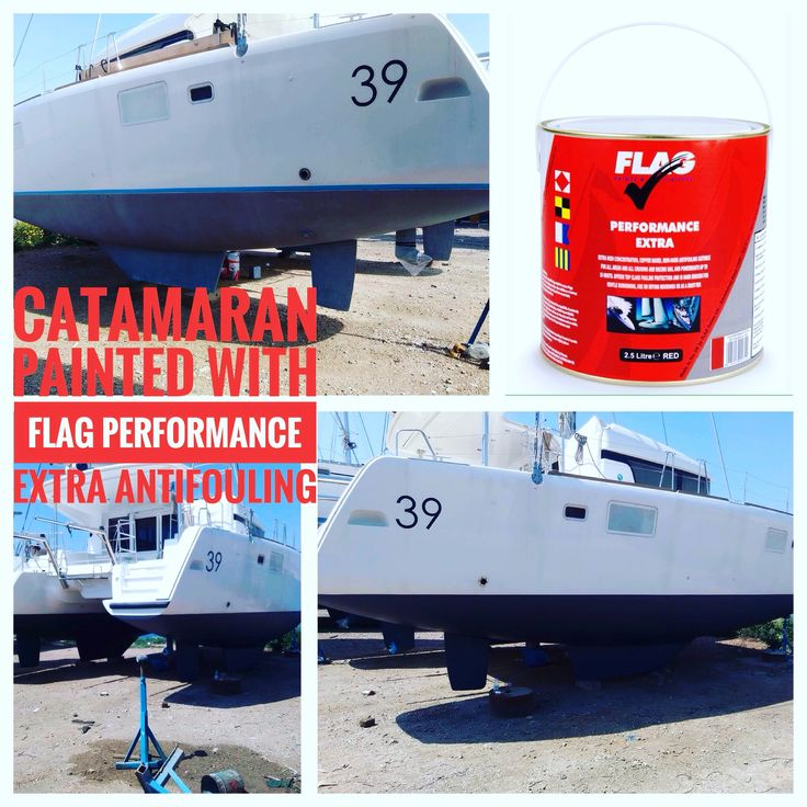 Catamaran with antifouling paint from FLAG PAINTS UK 🇬🇧  Work in Athens marina