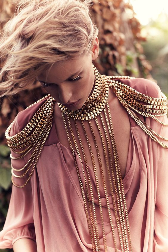 Jade Jackson photographed by Amanda Fordyce gold designer neck shoulder fashion: