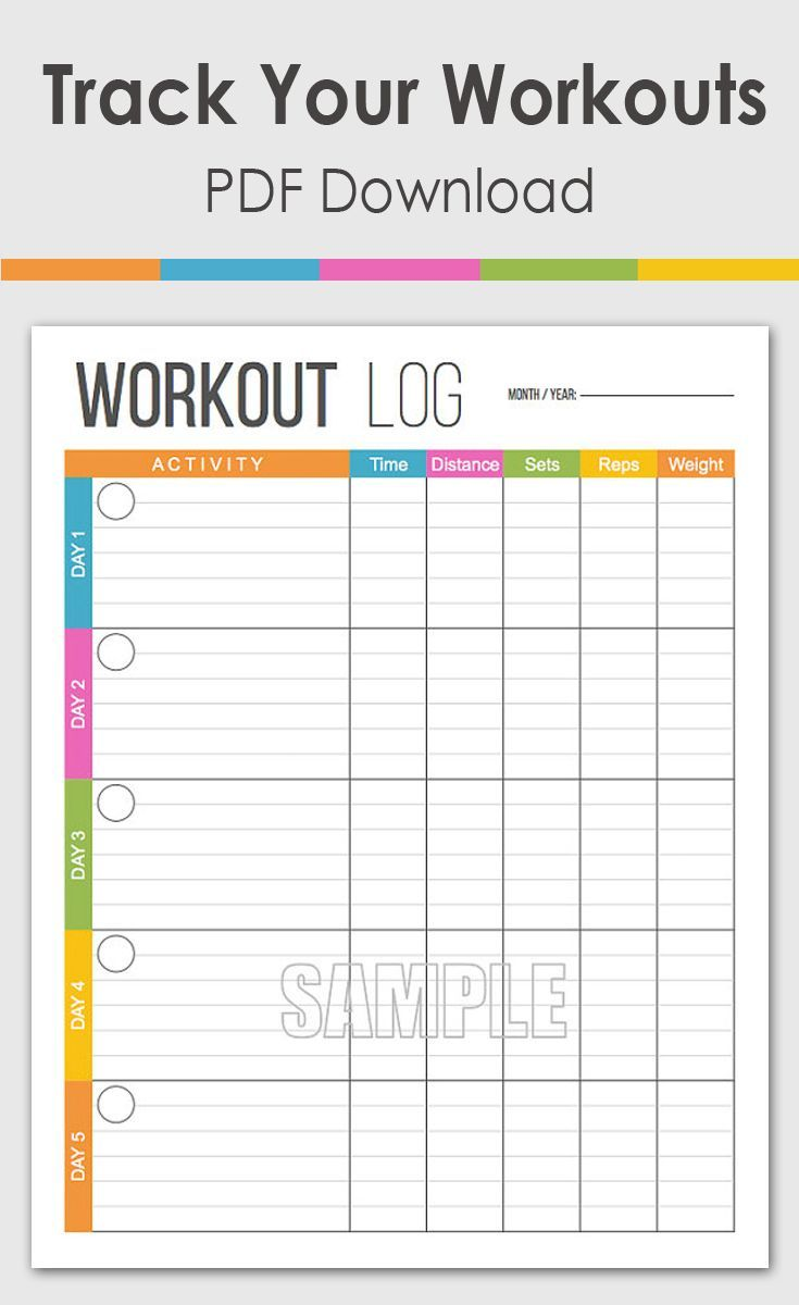 Colorful Workout Tracker Printable And Editable Instant Download