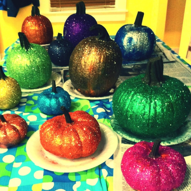Glitter Pumkins- paint on elmer's glue & sprinkle with a fine glitter.