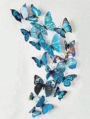 12Pcs Beautiful Stereo Multicolored Butterfly W... – DKK kr. 38