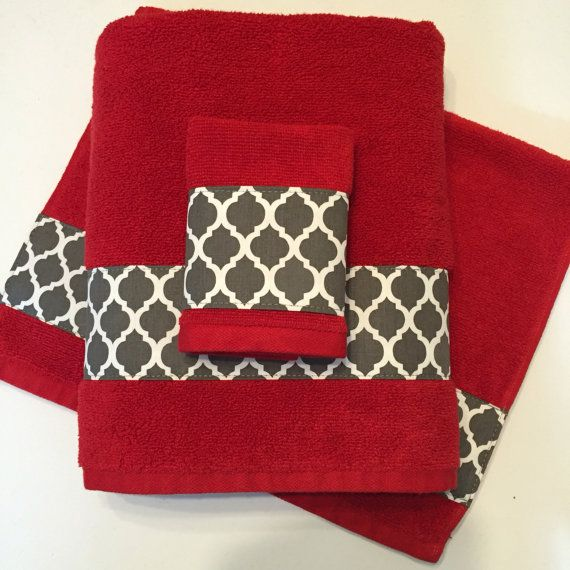 Red grey Bath Towels Bathroom towel bath towel hand by AugustAve on ETsy Charcoal grey red bathroom decor