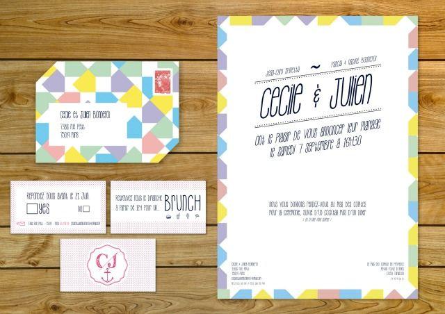 / / Fanions / / Bleu / / Jaune / / Violet / / Rose / / 2 en 1 / / Enveloppe et Invitation / /