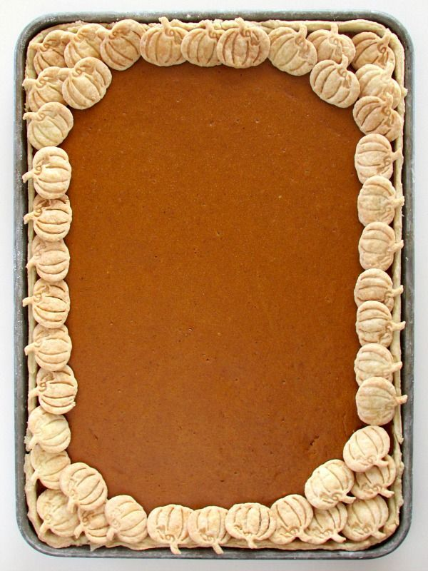 Pumpkin Slab Pie - Just as delicious as traditional pumpkin pie, just a lot easier to make with a higher ratio of flaky crust.