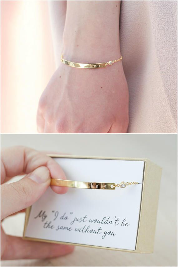 If you are looking for a beautiful, delicate keepsake gift for your bridesmaids that is personalized and something they will actually want to wear long after your wedding, then you have come to the right place! You can get this bracelet bar engraved with each bridesmaids name and even put your wedding date on the back (so its not obtrusive but still memorable). Or you can do any name, date, or short message on the front or back (1-10 characters). The name/date will be on the righthand si...