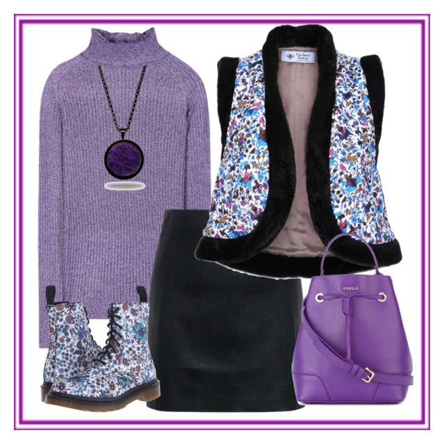 Purple heat by amisha73 on Polyvore featuring moda, Carven, The Bee's Sneeze, McQ by Alexander McQueen, Dr. Martens, Furla and Marlin Birna