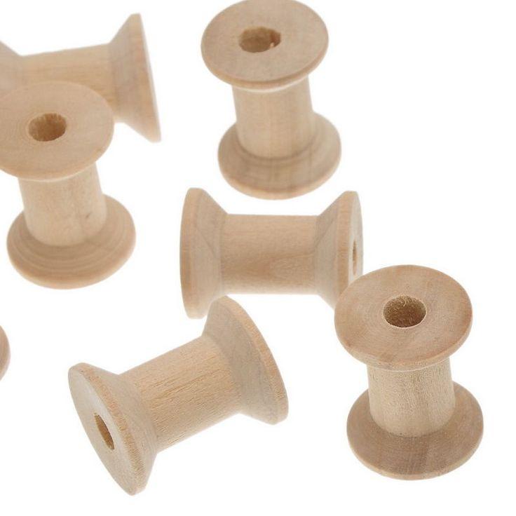 LOVE 10PCs Wooden Spools Cylinder Natural 28.7mm x23mm