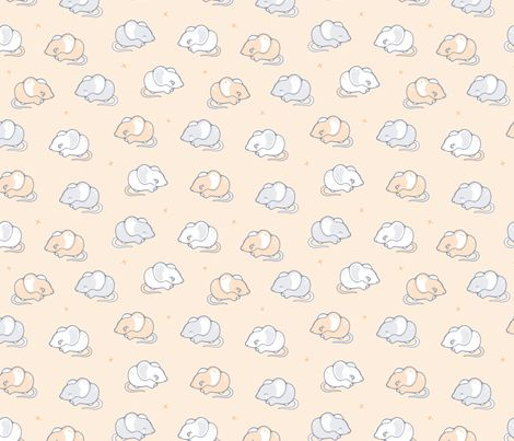 Mice in a row fabric by nossisel on Spoonflower - custom fabric