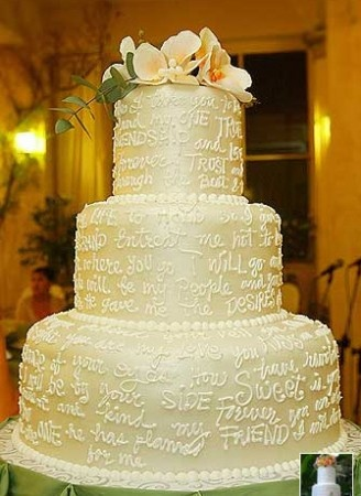 Vows Cake  A wedding vows-inspired wedding cake topped with flowers.