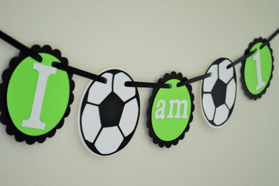 SOCCER I am 1 High Chair Banner First Birthday by KraftsbyKassy, $12.00