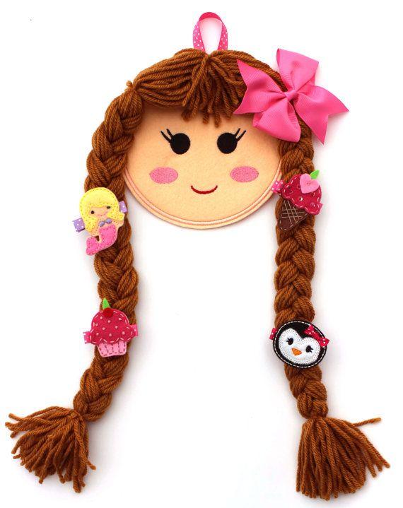 Doll Face Hair Clip Holder, Doll Face Bow Holder, Blonde, Brunette, Red…