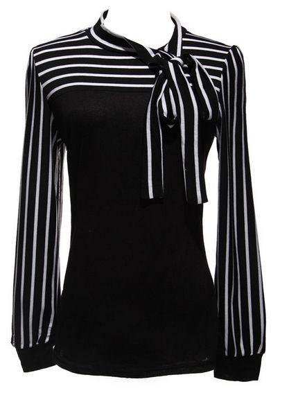 Women's Bowknot Striped Blouse – PLUS SIZES – 2 Colors