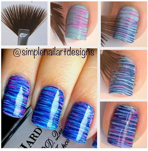 Fan Brush Nail Art Ideas | Simple Nail Art Ideas for Lazy Girls, check it - Best 25+ Girls Nails Ideas On Pinterest Pretty Nails, Nail Ideas