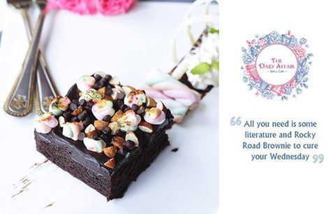 """""""All you need is some literature and Rocky Road Brownie to cure your Wednesday"""" The Daily Affair Deli & Cafe  #thedailyaffair #dailyaffair #NaviMumbai #Kharghar #Delecious #cafe #cakes #donuts"""