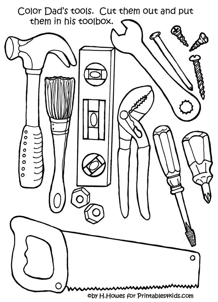 free print and color tools for fathers day gift or card printables for kids - Construction Tools Coloring Pages