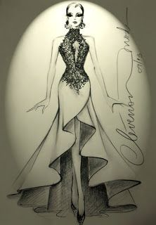DESENHOS DE MODA: Desenhos de Moda - Vestido com aplicação de renda ...