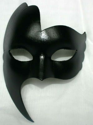 For the Groom. Black Venetian mask for men with a rather sinister look.