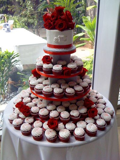 Red velvet cupcake wedding cake in red - very traditional