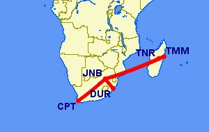 Flights from South Africa to Madagascar