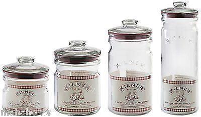 Kilner Vintage Barattoli in vetro con guarnizione zucchero, sale, caffè
