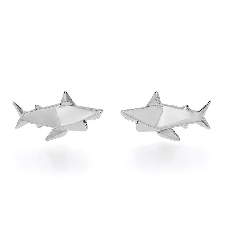 John Greed Origami Safari Shark Rhodium Plated Silver Stud Earrings | John Greed Jewellery
