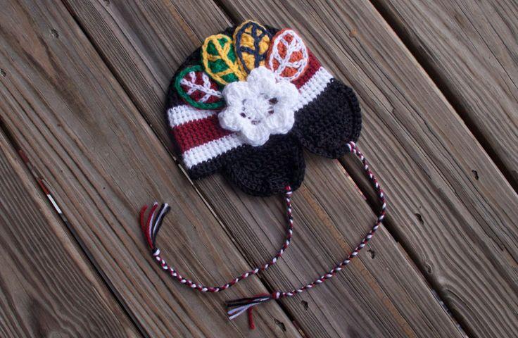 Blackhawks / Baby Girl Hockey Hat / NHL Girl / Chicago Baby Hat / Crochet / Baby Gift / Baby Sport Gift / Winter Hat / Hockey Beanie