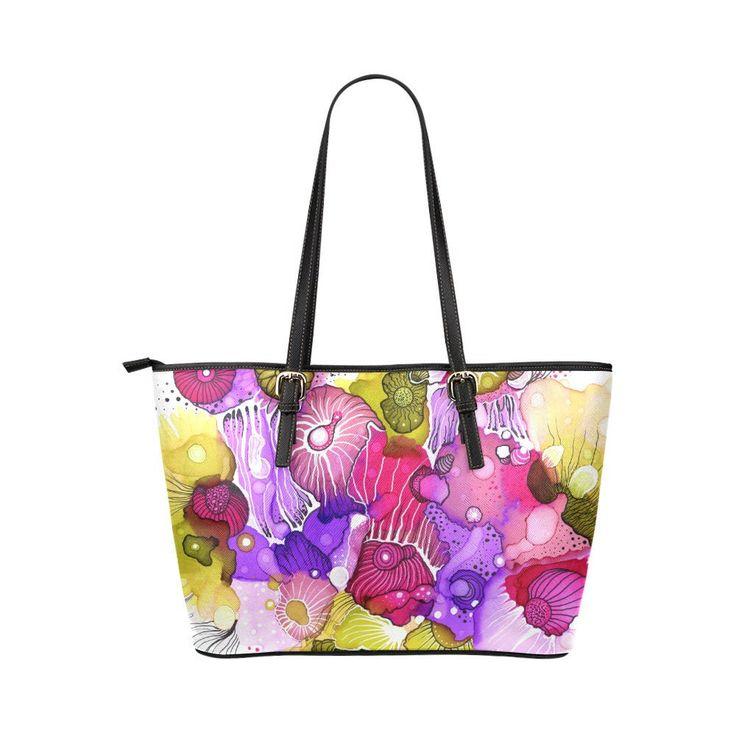 Einkaufstasche, rosa Einkaufstasche, Leder-Einkaufstasche, abstrakte Einkaufstasche, abstrakte 39 rosa lila grün Alkohol Tinte Kunst Malerei L.Dumas