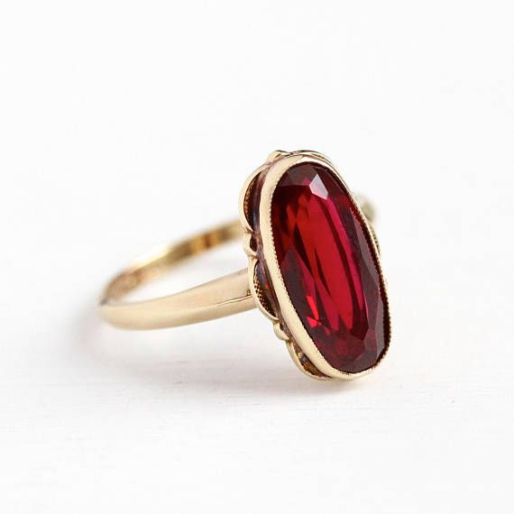 Created Ruby Ring Vintage 10k Rosy Yellow Gold Red Oval Lab Ruby 1950s Era Size 7 July Birth Red Gemstone Jewelry Ruby Ring Vintage Diamond Jewelry Designs
