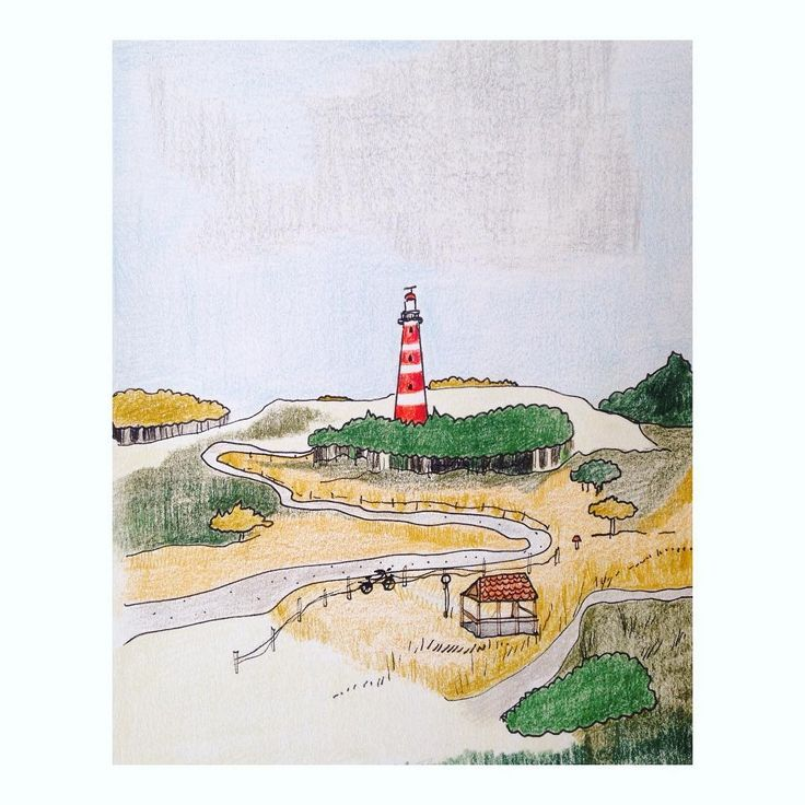 Two more days and I will see you again 🌾 can't wait so I made a drawing of you #ameland #island #dutch #wadden #waddenzee #dunes #ontheroad #lighthouse #drawing #draw #illustration #illustrations #pencil #colored