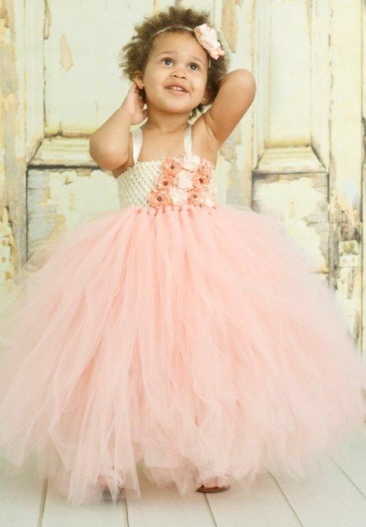Peach and Ivory Flower Girl Empire StyleTutu by TheDreamingLadybug