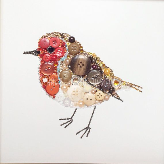 Robin Wall Art Christmas Gift for Bird Lover by bijouxbuttonsltd