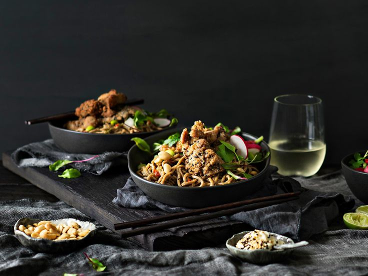 This satisfying meal of crunchy, sesame-fried chicken, peanutty noodles and…