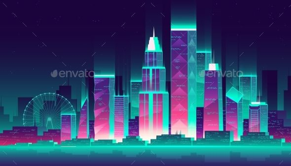 Vector Neon Megalopolis Background With Buildings Architecture Background Blue Building Business Cartoon City Cartoon Styles City Vector Neon