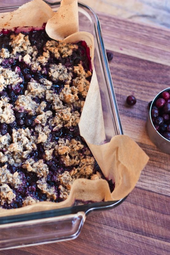 A naturally-sweetened blueberry crumble made with frozen blueberries. It's also vegan and gluten-free!