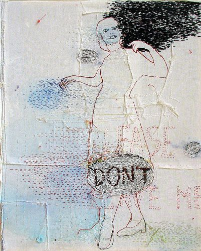 Z.T. (Don't) by Hinke Schreuders, embroidery on canvas, 2005
