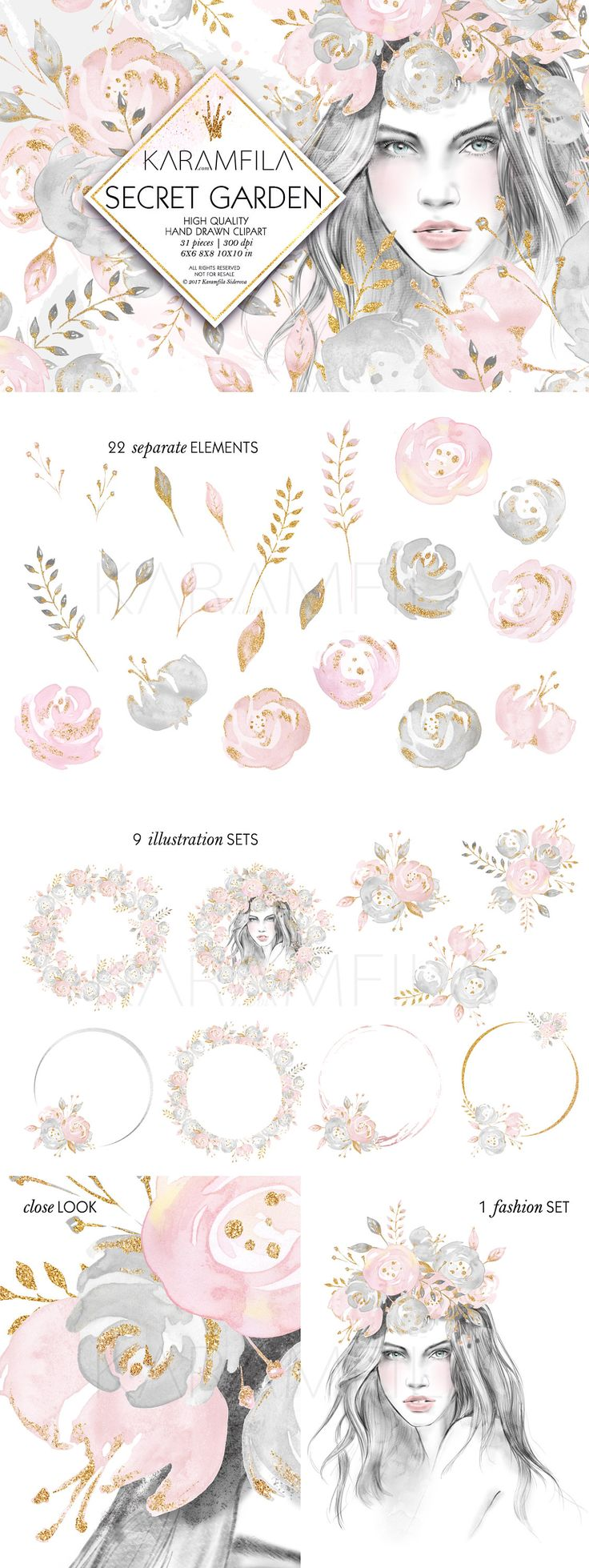 Wedding flowers clipart with blush and gold peonies, watercolor fashion illustrations clip art. Matching digital paper packs: * Secret Garden - www.etsy.com/listing/521099351 * Blush Wedding - www.etsy.com/listing/507292266 ---------------------------- Digital item, no physical items