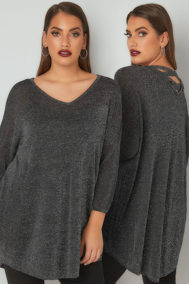 Silver Metallic Longline Fine Knit Top With Cross-Over Straps & Dipped Hem, Plus size 16 to 36