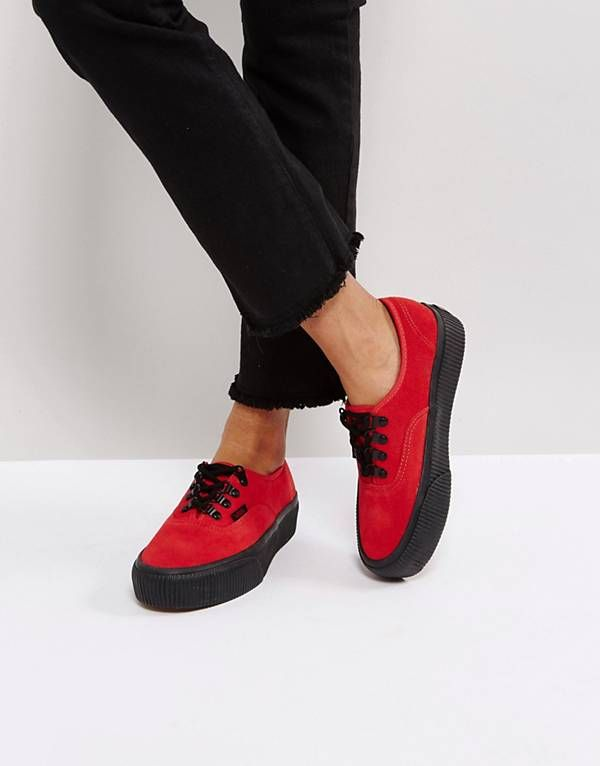 Vans Authentic Platform Trainers In Red  40a8bc405