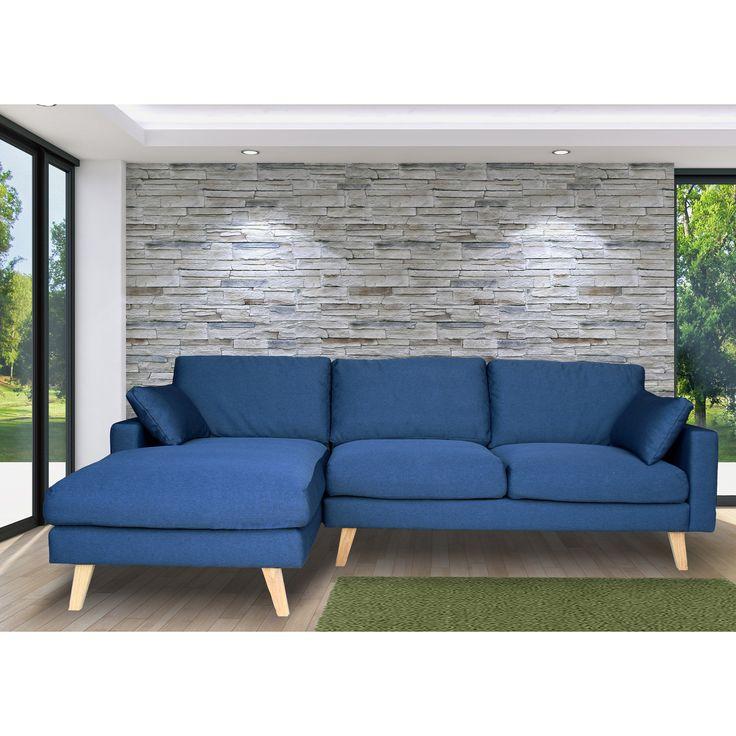 Canapé d'angle en tissu 4 places avec coussins et piètement bois STOWELL par kaligrafik