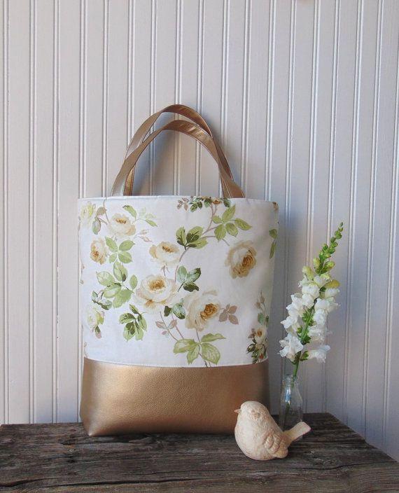 Floral Tote Bag Oversized Totebag Cottage Rose by JannysGirl