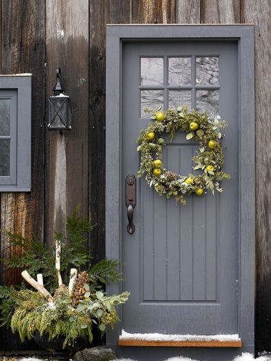 grey-blue and barn wood, Winter greenery